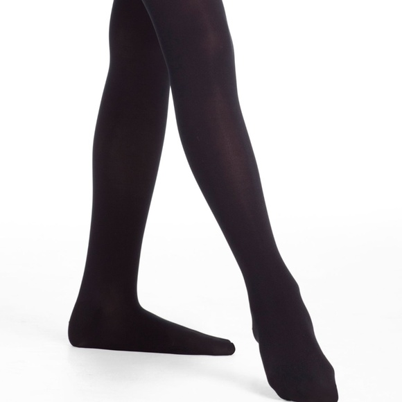 Danskin Freestyle Girl sz 12-14 Black Footed Tights New